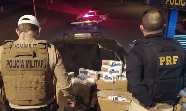 Contrabando: forças de segurança apreendem caminhão com grande carga de cigarros do Paraguai