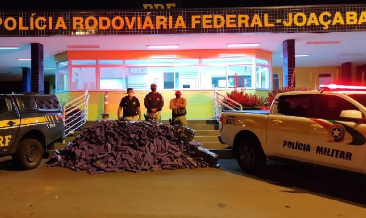 PRF e PMR confirmam apreensão de 1,1 mil quilos de maconha e prisão de traficante em Jaborá